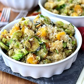 Quinoa with Caramelized Butternut Squash and Roasted Brussels Sprouts