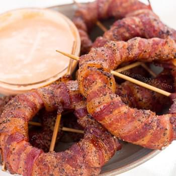 Bacon Wrapped Onion Rings with Sriracha Mayo Dipping Sauce
