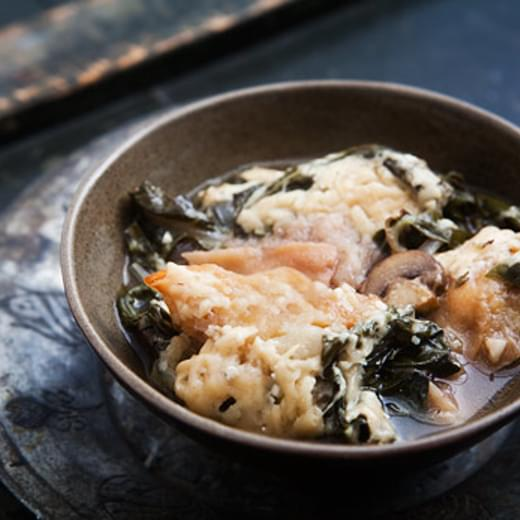 Bread Soup (Panade) with Onions, Chard, and Mushrooms