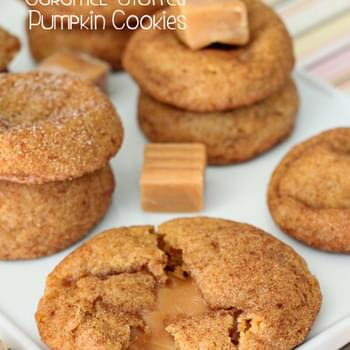 Caramel Stuffed Pumpkin Cookies