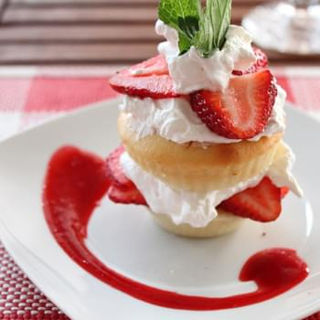 Strawberry Shortcake with a Raspberry Coulis