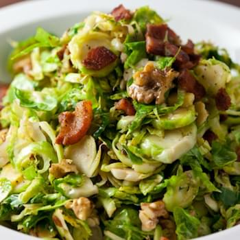 Shredded Brussels Sprouts with Bacon and Walnuts