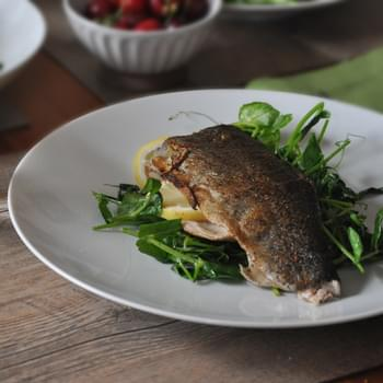 Simple Whole Trout with Green Garlic, Lemon and Pea Tendrils