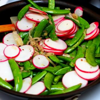 Sauteed Radishes and Sugar Snaps with Dill