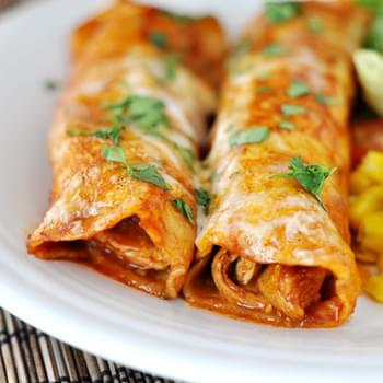 Red Chile Sauce Chicken Enchiladas