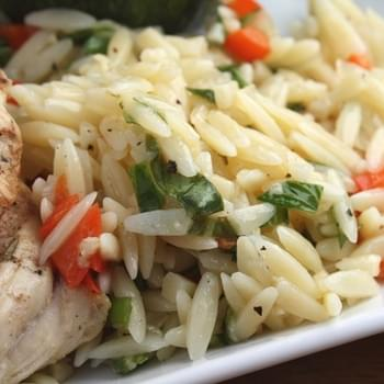 Lemon Butter Orzo with Red Peppers