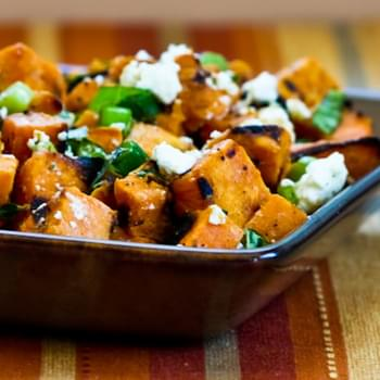 Grilled Sweet Potato Salad with Green Onion, Basil, Thyme, and Feta