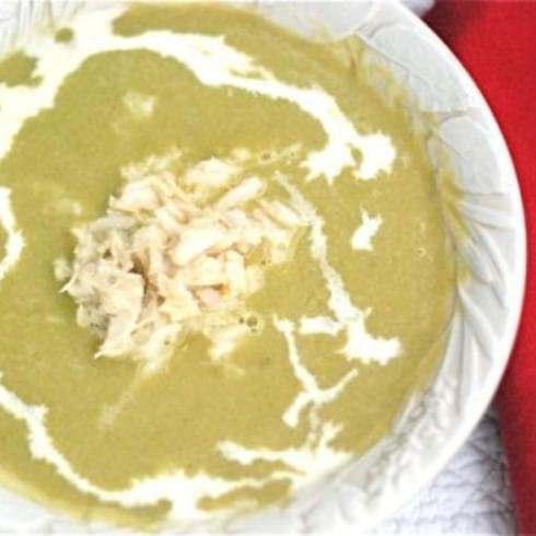 Spring Asparagus Soup with Fresh Crab