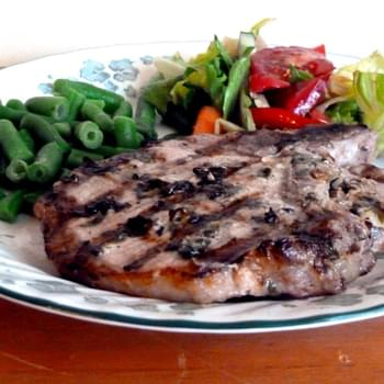 Grilled Porks Chops with a Simple Basil, Lime and Garlic Marinade or Rub