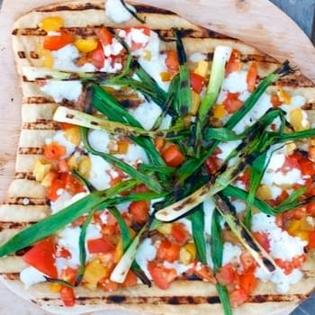 Grilled Pizza with Heirloom Tomato Checca & Scallions