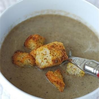 Creamy Mushroom Leek Soup with Peppery Parmesan Croutons