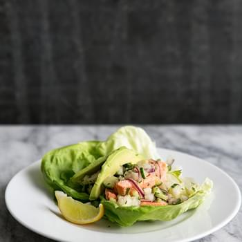Salmon Lettuce Wraps with Cucumber, Jicama, and Ginger