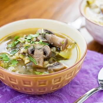 Mushroom Barley Soup With Fresh Herbs