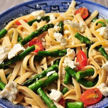 Spring Asparagus and Tomato Pasta with Feta