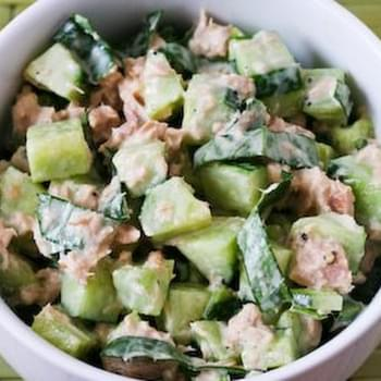 Garden Cucumber Salad with Tuna and Sweet Basil