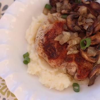 Seared Chicken Thighs over Cauliflower Puree