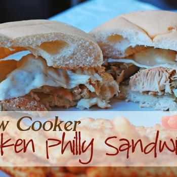 Chicken Philly Sandwiches in the Slow Cooker