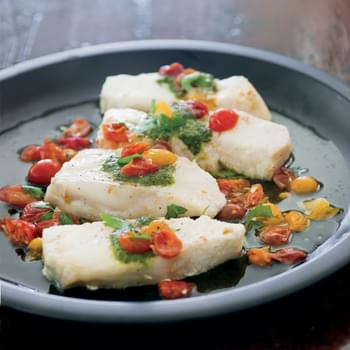 Sea Bass Poached with Tomatoes and Pesto