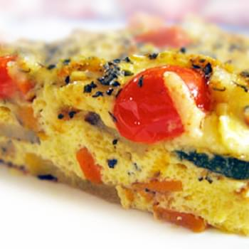 Karina's Roasted Vegetable Cheddar Quiche