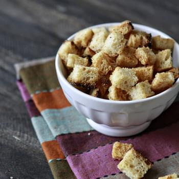 Homemade Sourdough Garlic Butter Croutons