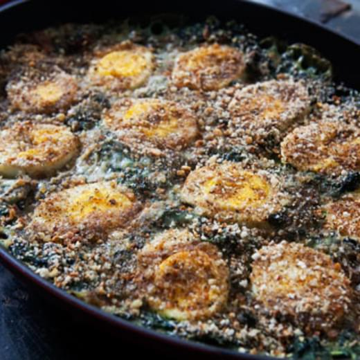 Spinach Gratin with Hard Boiled Eggs
