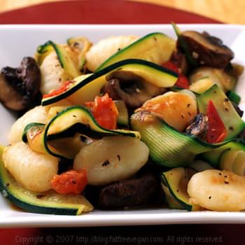 Gnocchi with Zucchini Ribbons and Portabella Mushrooms