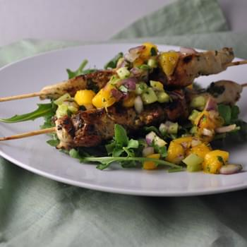 Cilantro Chicken Skewers with Mango Salsa
