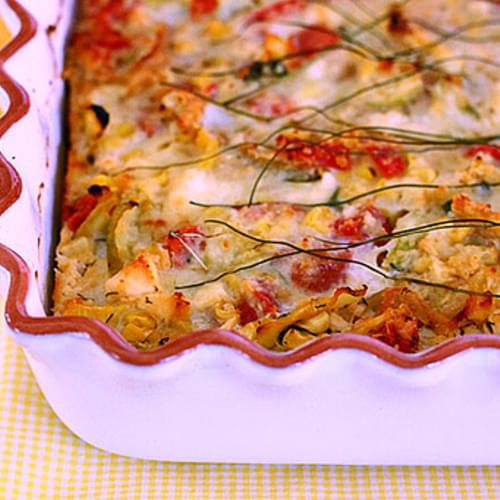 Crustless Zucchini, Corn and Tomato Quiche with Feta