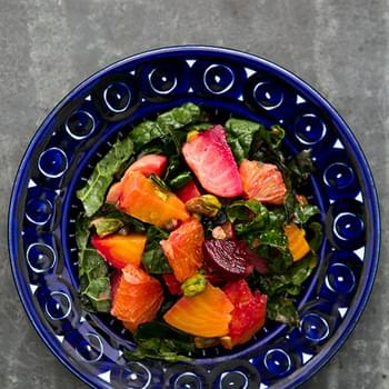 Festive Beet Citrus Salad with Kale and Pistachios