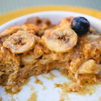 Banana Peanut Butter Bread Pudding