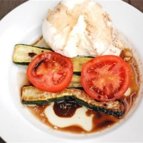 Roasted Zucchini with Tomato & Burrata