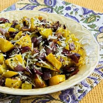 Savory Roasted White Sweet Potatoes with Red Onions, Rosemary, and Parmesan