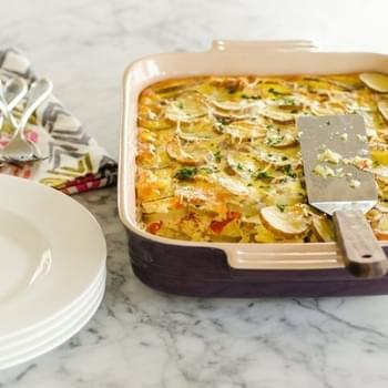 Potato Breakfast Gratin with Red Peppers & Parmesan