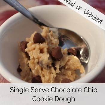 Single Serve Chocolate Chip Cookie Dough (Raw or Cooked)
