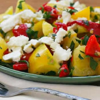 Yellow Tomato Salad with Roasted Red Pepper, Feta, and Mint