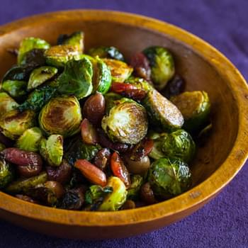 Roasted Brussels Sprouts and Grapes