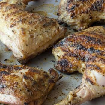 Grilled Chicken Legs with Dijon & White Wine Glaze