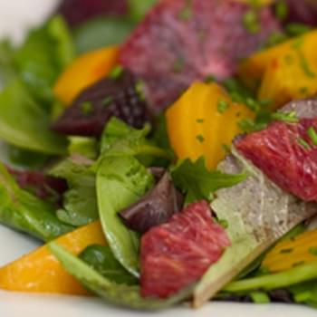 Roasted Beet and Blood Orange Salad with Spicy Greens