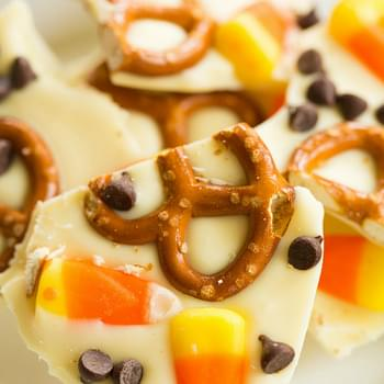 Candy Corn and Pretzel Chocolate Bark