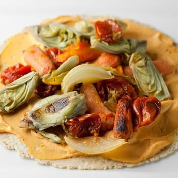 Roasted Veggie Wraps with Red Pepper Hummus