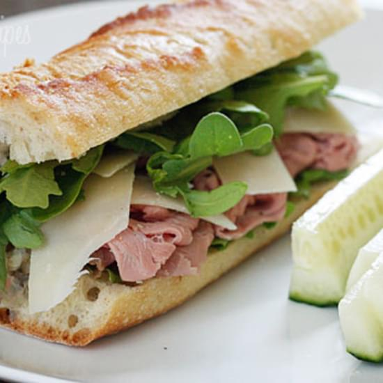 Roast Beef, Arugula and Shaved Parmesan on a Baguette