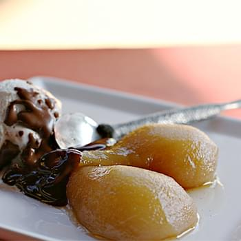Maple-Poached Pears Sundae