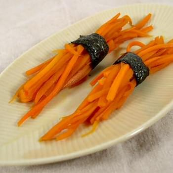 Carrot Stick Bundles Tied with Seaweed
