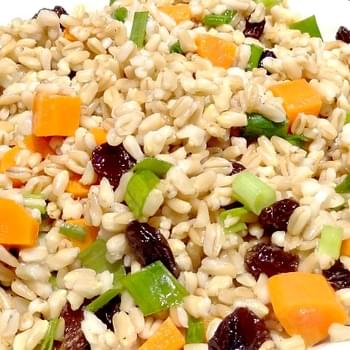 Oat Groats Salad with Carrots, Scallions and Raisins