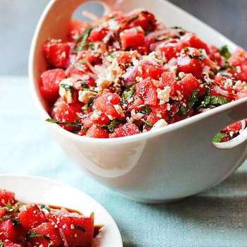 Watermelon and Feta Salad with Balsamic Reduction