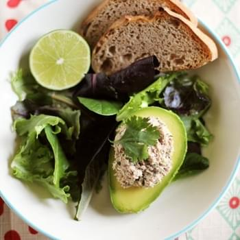 Cilantro-Lime Sardine Salad in Avocado Halves