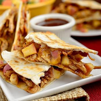 BBQ Chicken, Apple, Bacon, Cheddar Quesadillas