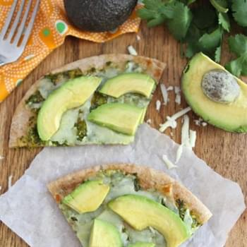 Avocado Pita Pizza with Cilantro Sauce