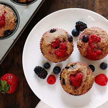 Low Fat Mixed Berry Whole Wheat Muffins