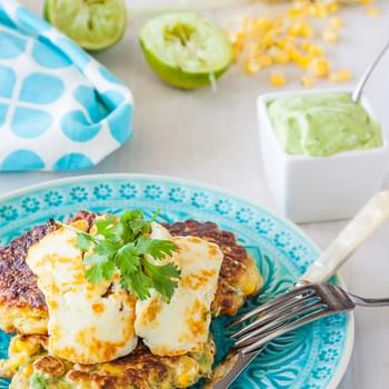 Corn And Avocado Fritters With Avocado, Yoghurt, Coriander & Lime Sauce